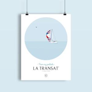 affiche transatlantique voilier sous spi au milieu de l'océan