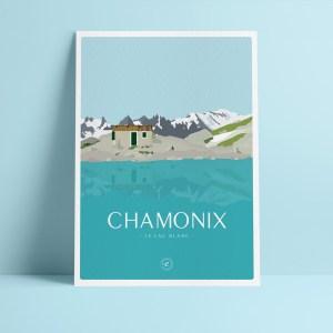 affichette A5 en papier de création, illustration du lac blanc à chamonix