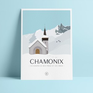 affichette A5 en papier de création, illustration de la chapelle des praz de chamonix avec les drus en arrière plan