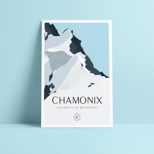 carte postale chamonix illustration des arêtes de Rochefort avec une cordée d'alpinistes