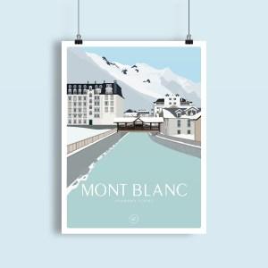 illustration de la vue sur le Mont Blanc depuis le centre ville de Chamonix