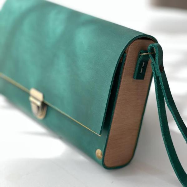 bolso de mano artesanal pluma