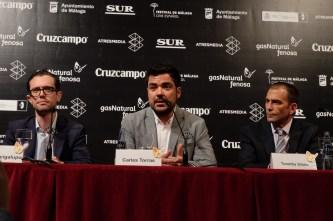 Rueda de prensa de presentación de 'Callback' en el Festival de Cine de Málaga. De izqda a dcha,