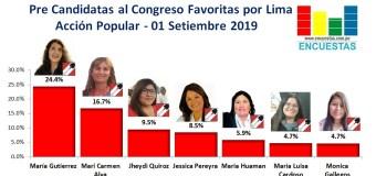 Candidatas al Congreso favoritas por Acción Popular – Lima 01 Setiembre 2019
