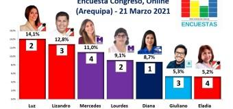Encuesta Congreso, Online (Arequipa) – 21 Marzo 2021