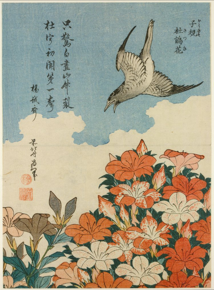 Ukiyo-e woodblock print of a cuckoo and azaleas by Japanese artist Katsushika Hokusai