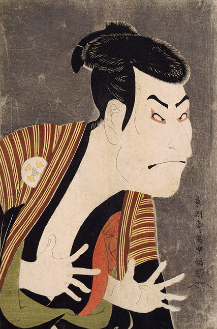 Oniji Ōtani III (aka. Nakazō Nakamura II) as Edobee in the May 1794 production of Koi Nyōbo Somewake Tazuna at Edo Kawarasaki-za theater.