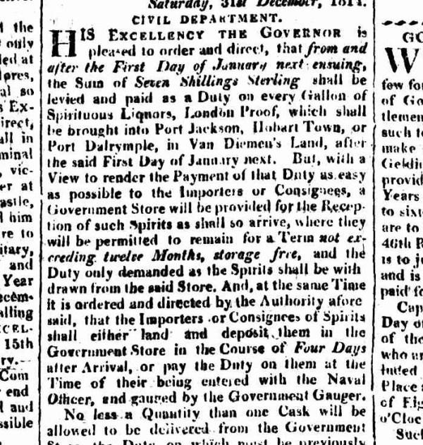 A screenshot of the Sydney Gazette, 1815