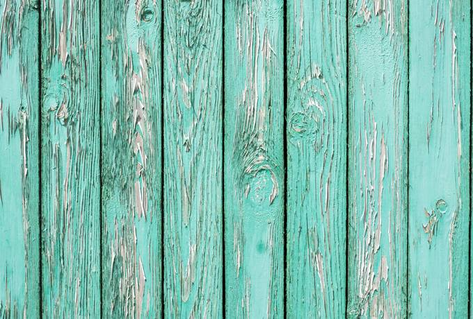 Old Wall from Turquoise Wooden Planks
