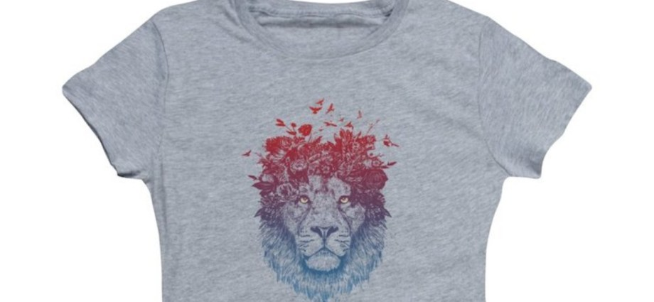 Lion artwork on gray t-shirt