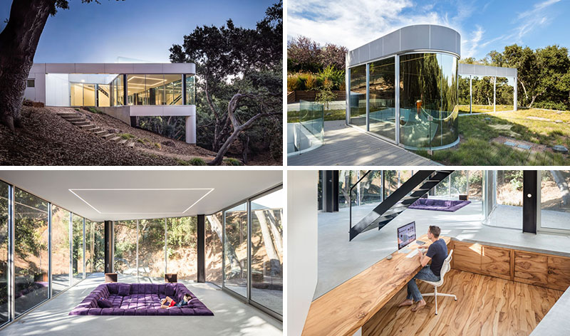 Craig Steely Architecture have designed a modern house inCupertino, California, that faces a canopy of a dense oak grove in the foothills of the Santa Cruz Mountains. #SunkenLivingRoom #ModernArchitecture #SunkenOffice
