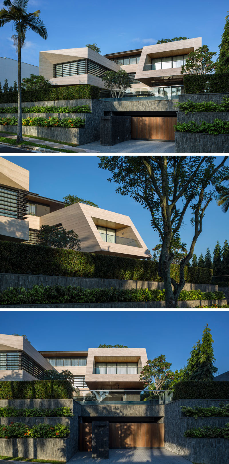 This modern house, which sits 13 feet (4m) above street level, has a slate covered terraced garden on either side of the garage and entryway. #ModernHouse #TerracedGarden #CurbAppeal