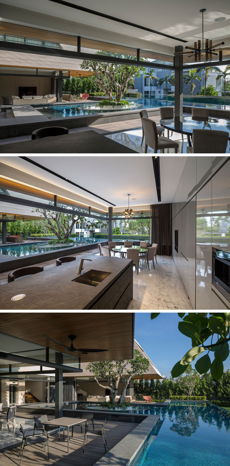 This modern house has retractable walls that open the social areas of the house, like the kitchen, dining and living room, to the wrap around patio and pool. #Kitchen #DiningRoom #SwimmingPool