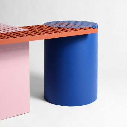 Urban Shapes is a geometric bench that celebrates the materials of construction sites