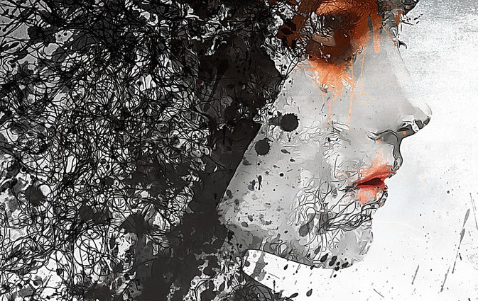 Digital art by Romain Bonnet. Female in black-and-white with orange mascara and orange lipstick.
