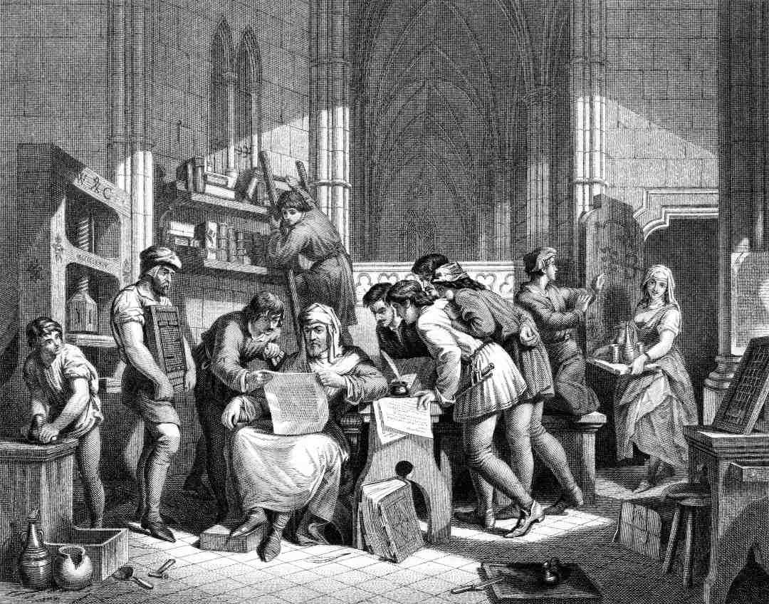 An engraved vintage illustration image of William Caxton reading the first proof sheet from his printing press, from a Victorian book dated 1886