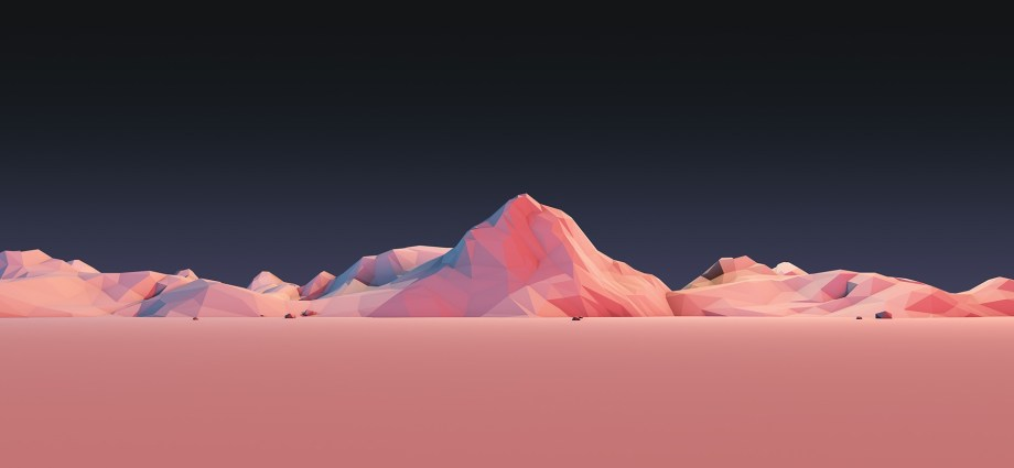 Pantone desert with mountains on horizon
