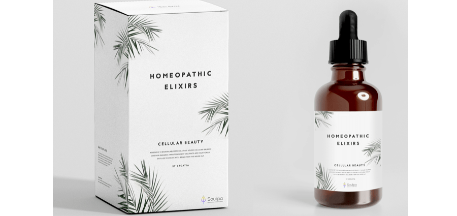 Homeopathic Elixirs minimalist branding and packaging
