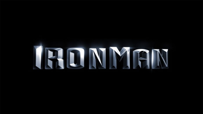 Silver coloured Ironman logo on a black background