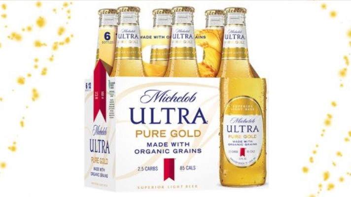 A six-pack of Michelob ultra-pure gold organic grains beer packaging and branding
