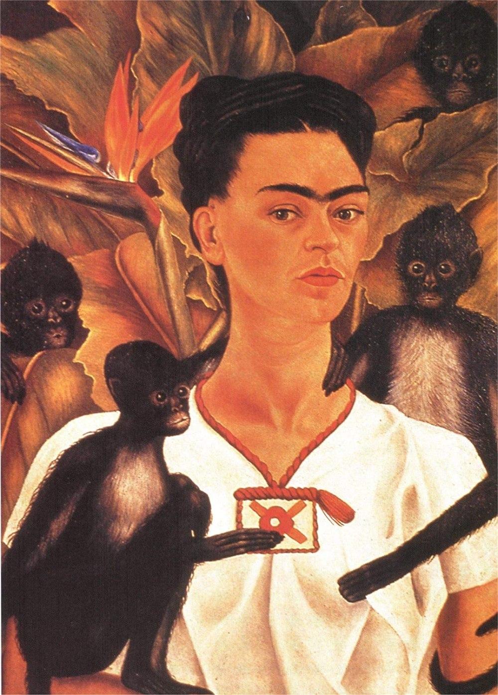 Self Portrait with Monkeys (1943) by Frida Kahlo Art Print