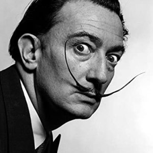 Salvador Dali Portrait Black and White Print Poster