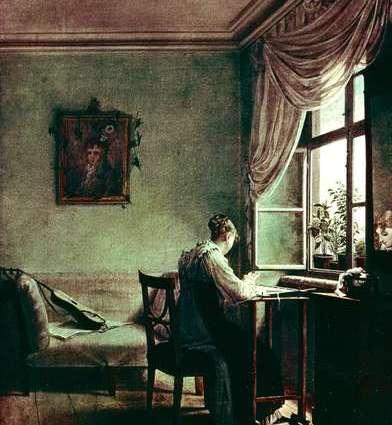 Woman Embroidering Biedermeier oil canvas George Friedrich-1814