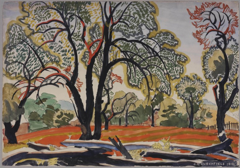Decorative Landscape: Hot Morning Sunlight (1916) by Charles Burchfield