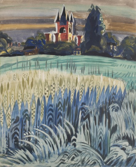 Wheat field and tower (1917) by Charles Burchfield
