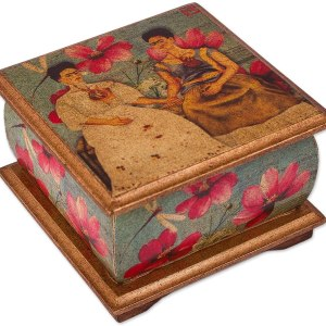Frida Floral Decoupage Wood Decorative Box with Pink Flowers and Dragonflies,
