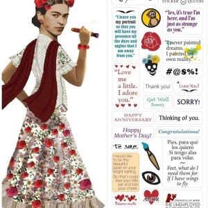 Frida Kahlo Quotable Notable - Die Cut Silhouette Greeting Card and Sticker Sheet