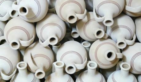 Ceramics - terracotta pots stacked