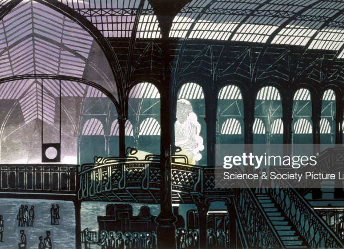 Edward Bawden - Liverpool Street Station, 1961. Lithograph