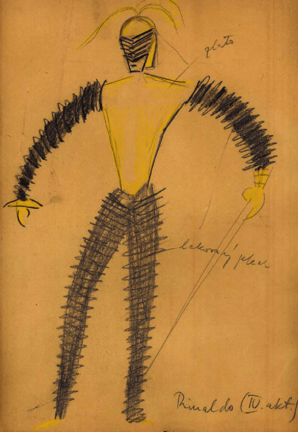 Costume design by František Zelenka for Rinald in Act IV of Armida at the National Theatre in Prague, 1928.