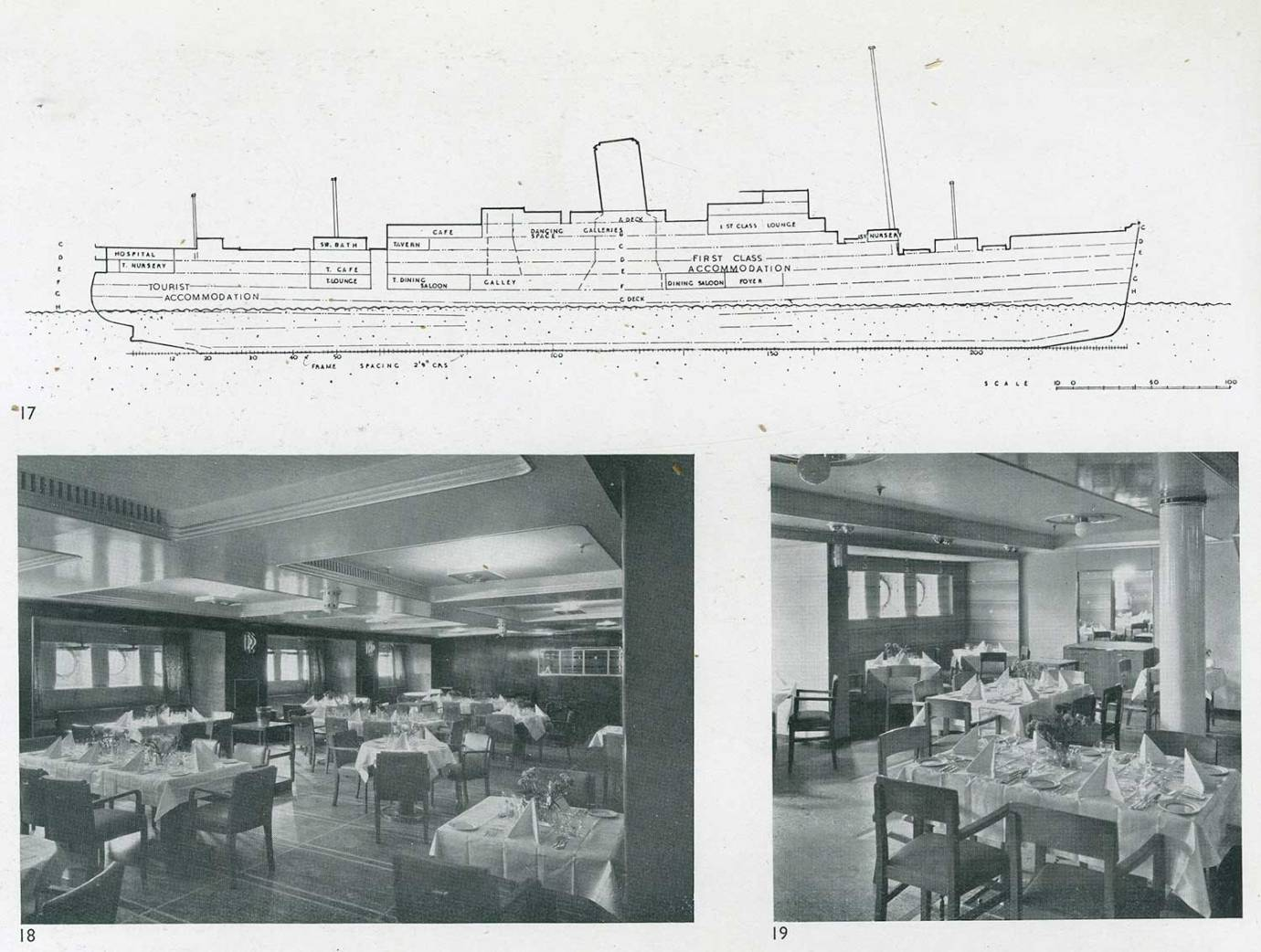 Several of O'Rorke's designs for the interior of the Orion