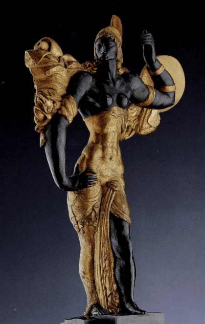 Jaroslav Horejc, Pallas Athena, Painted, carved and gilt wood.
