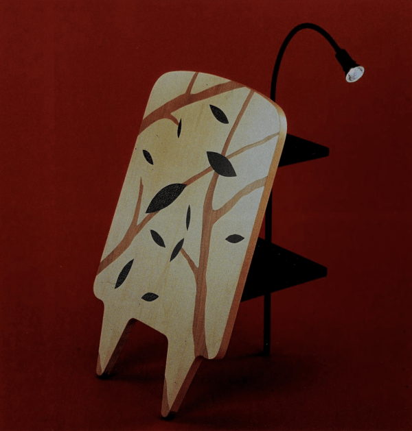 Notturno (Nocturnal) 1989 inlaid wood and metal bedside table by Patrizia Ranzo