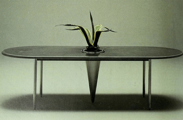 'Agave' table, steel structure and gray volcanic stone or white marble plane.