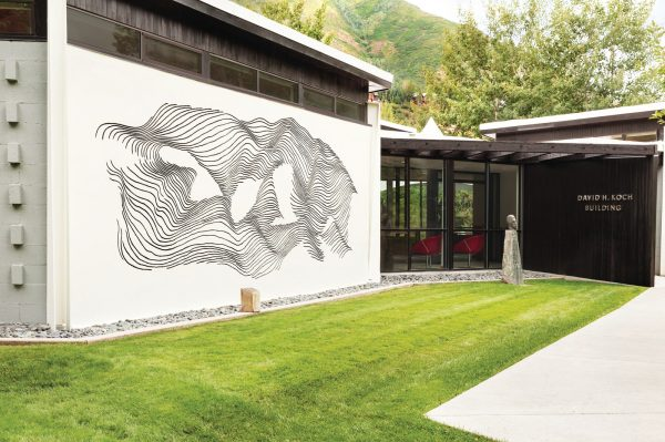 The Sgraffito Mural by Bauhaus artist Herbert Bayer outside the Koch Building at the Aspen Meadows Resort.