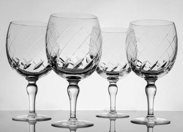 Webb Corbett Pirouette Goblets Stemware Fine Crystal England 1960s Vintage Cut Crystal Mid-Century Barware Large Wine