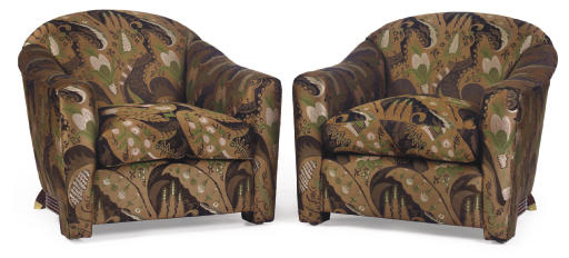 A pair of silk brocade upholstered and painted wood armchairs by Jay Spectre