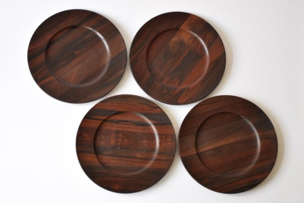 4 Wooden Rosewood Plates by Jens Quistgaard