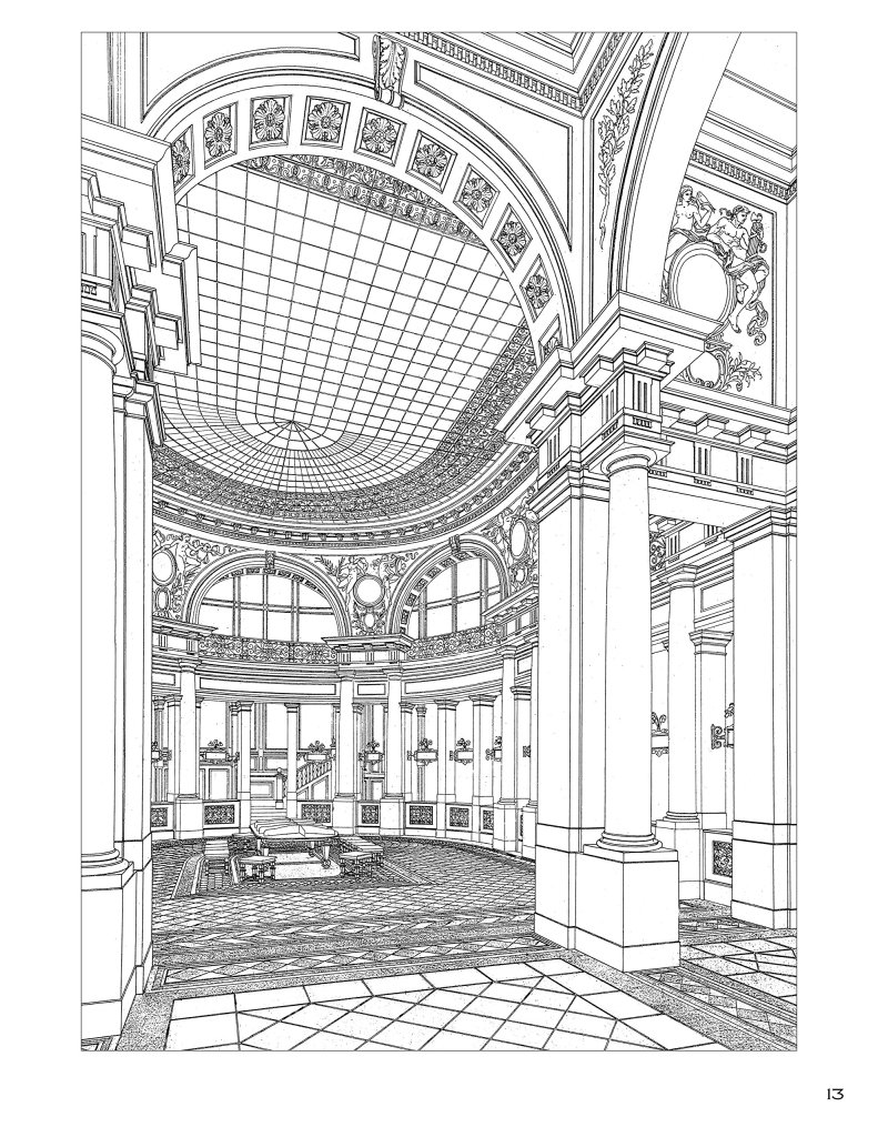 Otto Wagner: An Architectural Colouring Book page example
