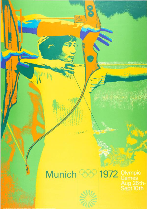 Otl Aicher 1972 Munich Olympics: Archery poster, Sports Series 1968 -1972
