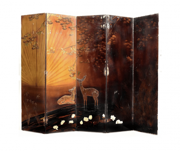 Five-leaf screen mounted on hinges in lacquered wood designed by Louis Midavaine
