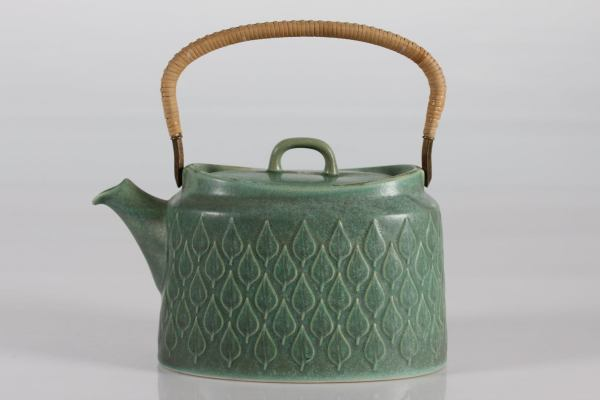 Teapot with Salt Green Glace and Rattan Handle by Jens Harald Quistgaard