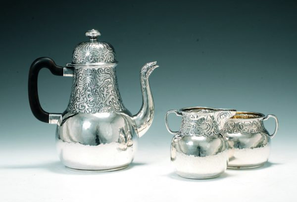 Jacob Prytz. Coffee set. Silver. Made by J. Tostrup. Dated 1916.