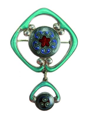Jacob Prytz. Brooch. Gold-plated silver and mirror enamel. Made by J. Tostrup. Drawn in approx. 1915