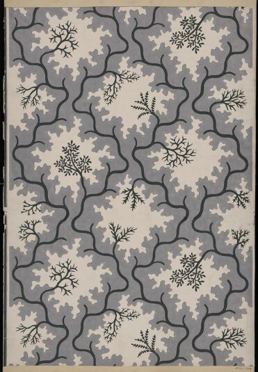 Portion of 'Moss' wallpaper, an all-over diaper pattern of organic shapes and leaves by John Aldridge (V&A)