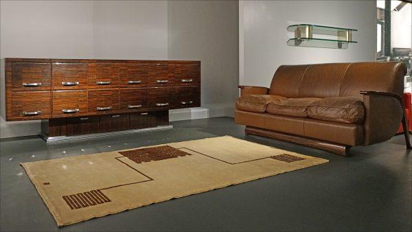 Furniture pieces from Manik Bagh, designed by Émile-Jacques Ruhlmann in 1932, in an exhibition at the Musée des Arts Décoratifs, Paris